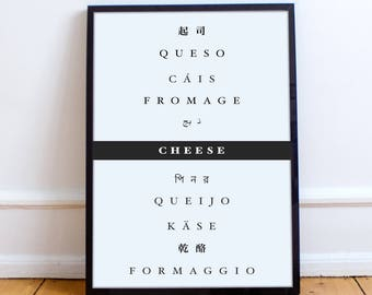 Digital Print - Cheese in Different Languages - French - Italian - Spanish - Printable - Download - Art - Kitchen - Gift - Apartment