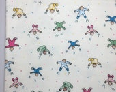 Swaddle Baby Receiving Blanket, 40 x 35 , Single Layer, Cream Blanket, Jumping Babies, Flannel Swaddle, Baby Blanket