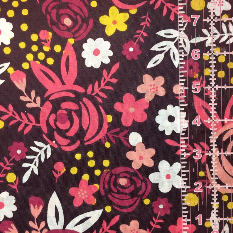 Quilting Cotton Fabric Set Floral Cotton Fat Quarters Swirls Medallions Pink and Black Fat Quarter Bundle