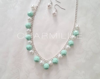 Necklace for Women Chunky Necklace Mint Necklace Statement Necklace Layered Necklace Gifts Mint Wedding Gifts for her Multi Strands