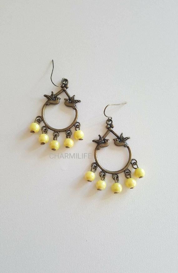 Yellow earrings, bird earrings, bronze, yellow wedding, everyday jewelry, boho earrings, vintage, dangle earrings, gift ideas, earrings