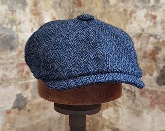Mister Miller - ALBERT - Navy   Black Herringbone - British Harris Tweed  Newsboy Flat Cap - Peaky Blinders Style - Mens Wool Cap - All Sizes e3de529b55d9