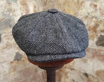 3f51dba088758 Mister Miller - JACOB - Charcoal Grey Black Herringbone - Peaky Blinders Hat  - Newsies - Newsboy Bakerboy Tweed Wool Flap Cap