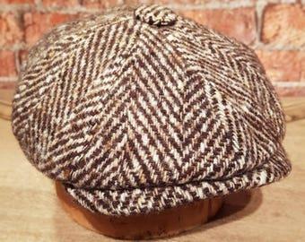 Mister Miller - ALBERT - Chunky Herringbone Tweed Wool - Brown and White - Newsboy Bakerboy Cap