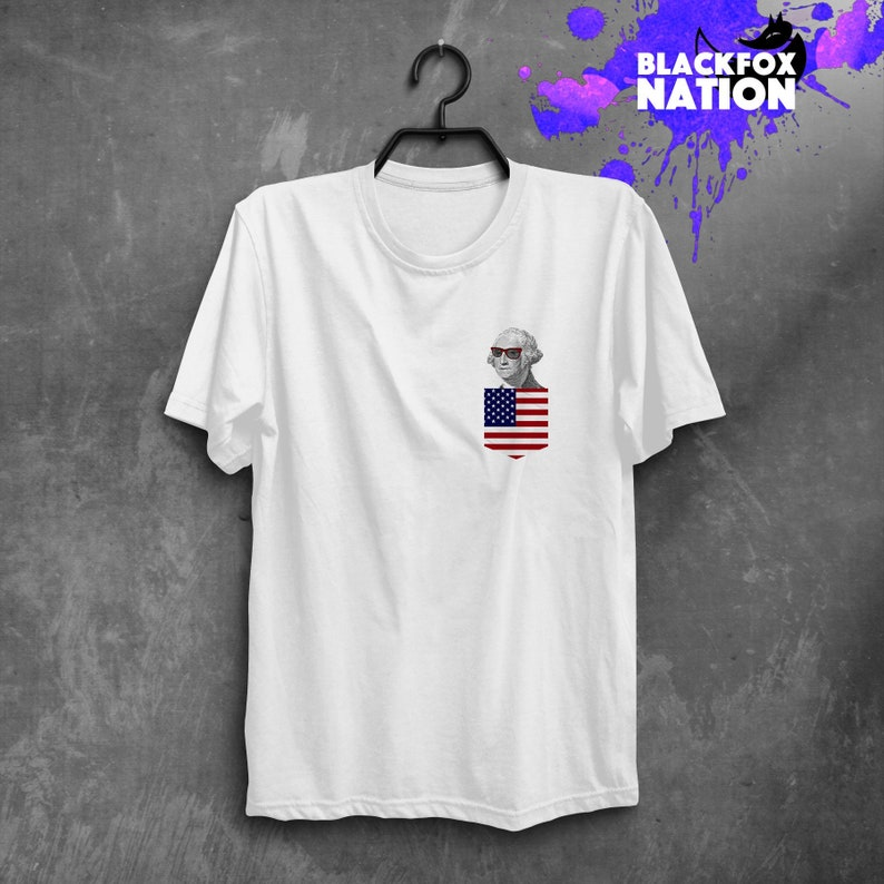 d6508dabca55b USA Flag T-shirt Printed Pocket Tee Tumblr Shirt Fancy Print George  Washington Funny Tshirt American Flag Print Personalized Gift BF1123