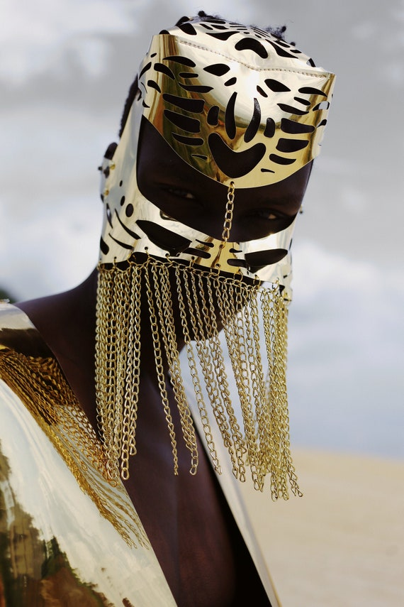 Gold Face chain mask Men mask Face veil Head chain Burning man mask Chain veil Headchain Steampunk costume Face jewelry Fashion mask