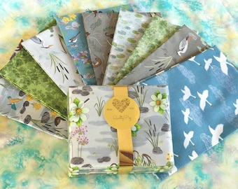 """Fabric, Set of 9 Fat Quarters """"Down by the River"""" by Lewis & Irene, Blue, Green, Swans, Otters"""