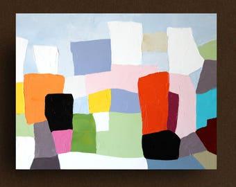 "Abstract landscape original oil painting,original art,pop,minimalism,landscape,geometric,small painting 11""x14"" ""Sweet Shades of Memory XI"""