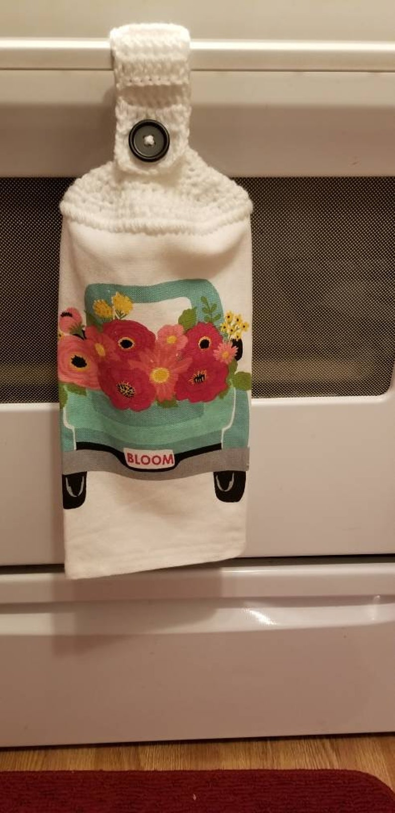 truck spring towel Kitchen towel with crocheted top hanging towel