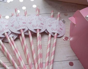 15 x Personalised Party Straws - Perfect For Birthdays, Weddings, Baby Showers - 9 Colour Options To Select From