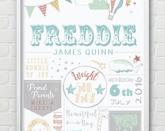 Welcome To The World Baby Boy / Girl Nursery / Baby Shower Gift Wall Print With Newborn Personalised Details