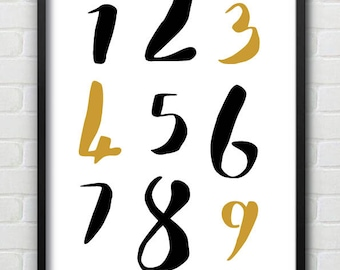 Mono & Ochre Counting Numbers Wall Print / Colours Can Be Amended
