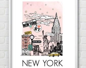 New York Travel Keepsake Destination Print - LA and Vegas versions also available
