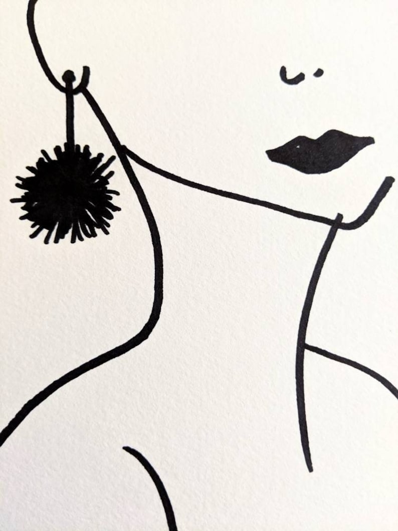 marker drawing birthday gift Women face and neck with earring marker drawing on white watercolor paper,decor original poster art