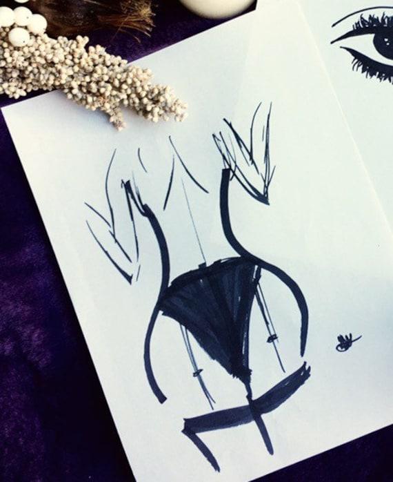 Black Marker Drawing Of Women In Lingerie On Perle White Paper Art Piece Decor Art Gift Idea Wall Art Design Fashion Femme