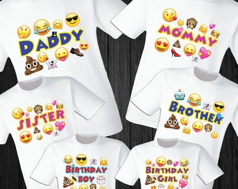 Emojis T Shirts Party Family Birthday Son Dad Sister Mom Reunion Celebration Emoji