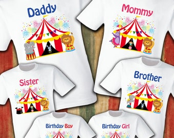 Circus Birthday Shirt T Shirts Party Family Son Dad Sister Mom Reunion Celebration Carnival Animals