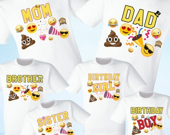 Emojis Shirts Party Family Birthday Son Dad Sister Mom Reunion Celebration Emoji Tshirt T