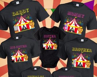 Circus Birthday Shirt T Shirts Party Family Dad Sister Mom Reunion Celebration Carnival Animals Black