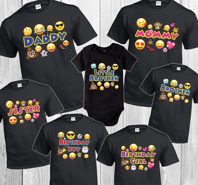 c5ebc3d2 Emojis T Shirts Party Family Birthday Son Dad Sister Mom | Etsy