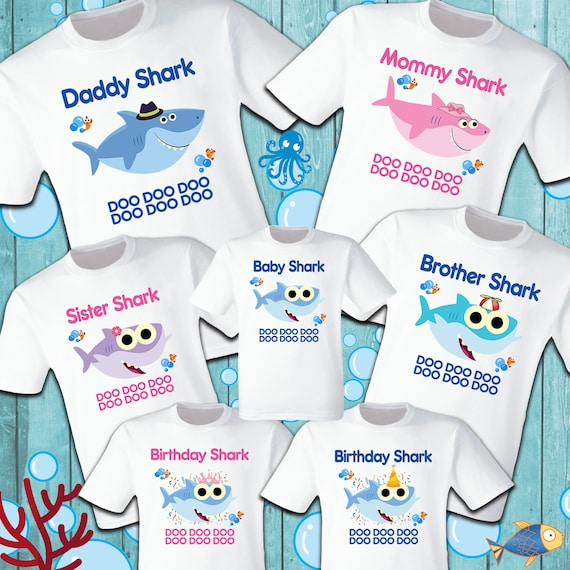 Baby Shark T Shirts Party Family Birthday Son Dad Sister Mom