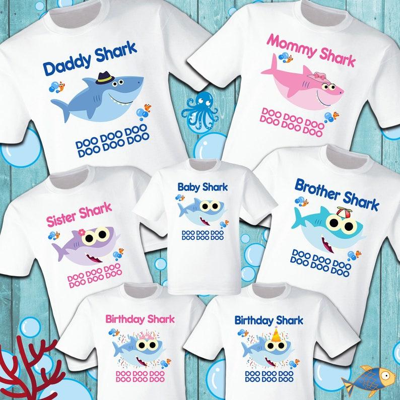 5aaad2851 Baby Shark T Shirts Party Family Birthday Son Dad Sister Mom | Etsy