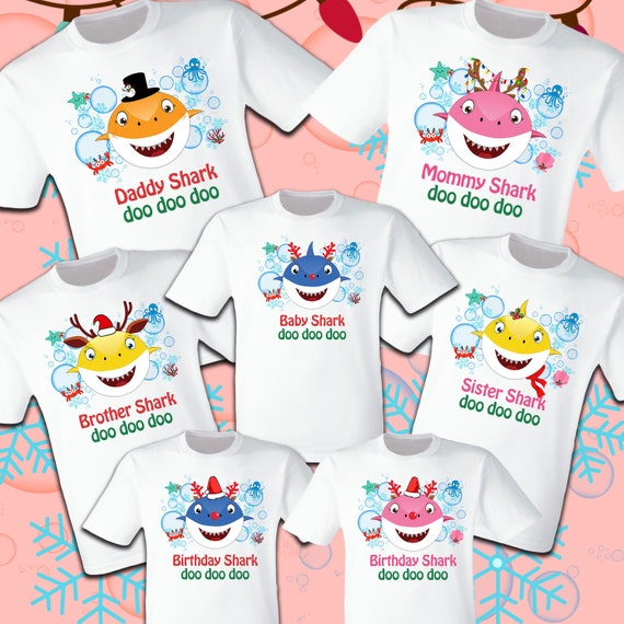 a3d8d1fd Baby Shark Christmas Shark T Shirts Party Family Birthday Son | Etsy