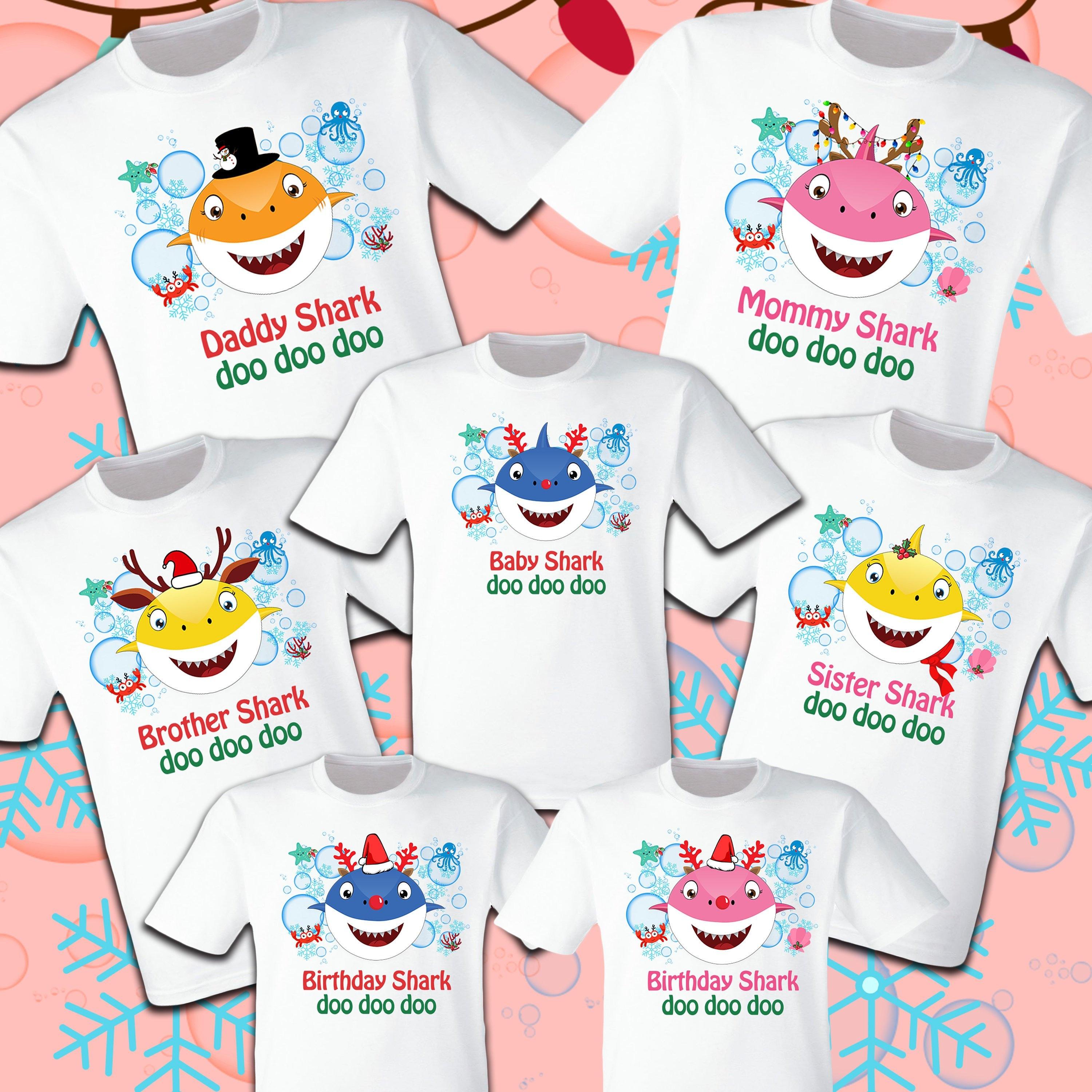ed55a1ecb Baby Shark Christmas Shark T Shirts Party Family Birthday Son | Etsy