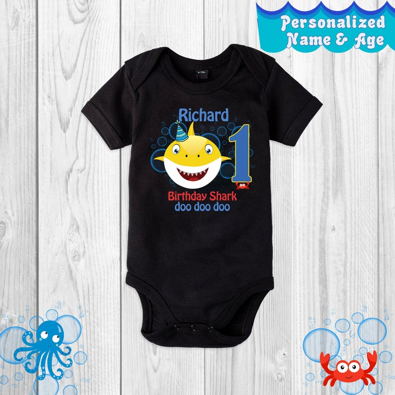 4128fa598 Birthday Shark Baby Bodysuit/ Doo Doo Doo/ Family Birthday/ | Etsy