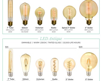 "Antique Light Bulbs and LED Bulbs Many Styles! Tungsten Filament Edison Globe, Radio, LED Edison, 5"" Globes Vintage Bulb- Hangout Lighting"