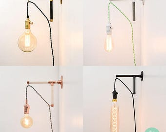Plug in wall sconce etsy more colours plug in wall sconce aloadofball Gallery
