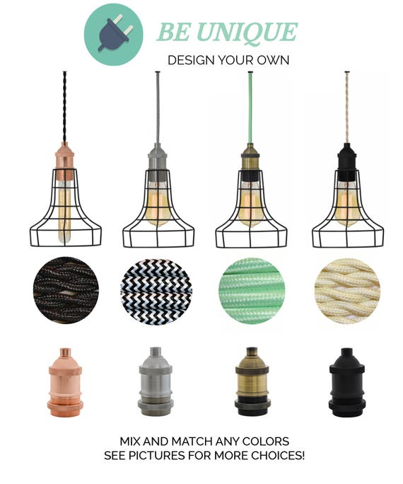 Any Cord Length Custom Any Color Plug In himmeli Lighting Diamond Cage Hanging Pendant Plug In Lamp