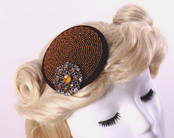 1940s Inspired Hand Beaded Fascinator & Vintage Brooch