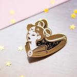 Transforming into a Sailor Senshi • Hard enamel pin in gold, black and white Pretty Guardian Sailor Moon