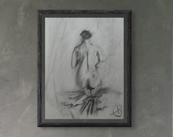 ORIGINAL Charcoal Drawing Charcoal NUDES  Naked Woman DIN A3 Seductive Roses.