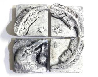 Raven art tile, set of 4, wall sculpture, art tiles, raven tile, decorative tiles, bas relief sculpture, backsplash tile, crow tile, bird