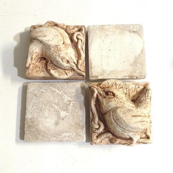 cast stone by stone carver Collene Karcher set of 4 tile plaques Animal bas relief art tiles
