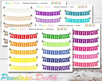 Weekend Banner Planner Stickers |  Neutral REMOVABLE MATTE