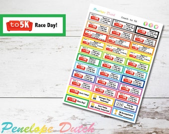 Couch to 5K Running Fitness Program Planner Stickers   Gym Workout Weight Loss Stickers