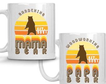 Anniversary Gift for Parents - 1970s Retro Design Mama Bear Papa Bear Hobby Est. Year Mug Set, Personalized Coffee Cups, Housewarming