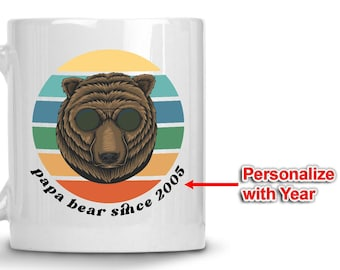 Dad Gifts for Dad from Daughter - 1970s Retro Design Papa Bear Mug with Est Year, Father's Day Coffee Cup Personalized Gifts for Dad Grandad