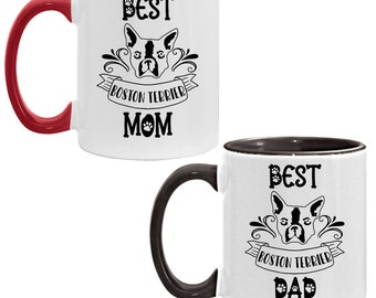 Mug Set Boston Terrier Gift, Dog Mom and Dad, 11oz Accent Coffee Mug, Set of 2, White and Black Coffee Cups, Present for Parents
