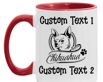 Dad Mug Chihuahua Personalized Gift, Chihuahua Custom Coffee Cup, Dog Lover, Dog Mom, Dog Dad, Mother's day Present Daughter