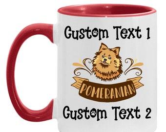 Dad Pomeranian Present Personalized Coffee Mug, Best Pom Pom Mom Custom Coffee Cup, Dog Lover, Pomeranian Daughter, Mother's Day Gift