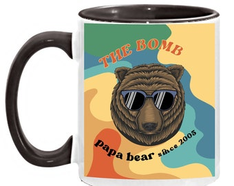 Dad Mug Gift - Personalized The Bomb Design Personalized Year Papa Bear Mug, Father's Day Coffee Cup, Unique Birthday Present for Pop Pop