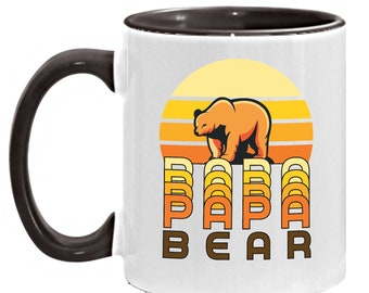 Retro Birthday Mug for Dad - 1970s Retro Design Papa Bear Mug, Father's Day Coffee Cup, Unique Birthday Present for Pops from Son