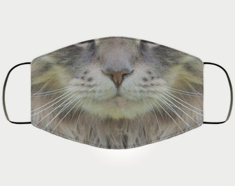 Face Mask Gift for Maine Coon Cat Lover, Double Layer Protective Mask, Reusable, Washable, Breathable, Print Quality Present for Sister, Mom