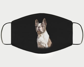 Face Mask Gift for Boston Terrier Dog Lover, Double Layer Protective Mask for Mom, Reusable, Washable, Breathable, Print Quality Image Gift
