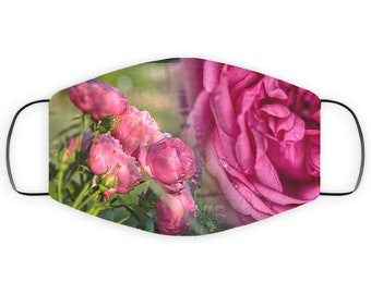 Adult Face Mask Gift for Rose Lover, Double Layer Protective Mask, Reusable, Washable, Breathable, Print Quality Artwork for Gardener Mom