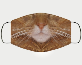 Face Mask Gift for Abyssinian Cat Lover, Double Layer Protective Mask, Reusable, Washable, Breathable, Print Quality Present for Her